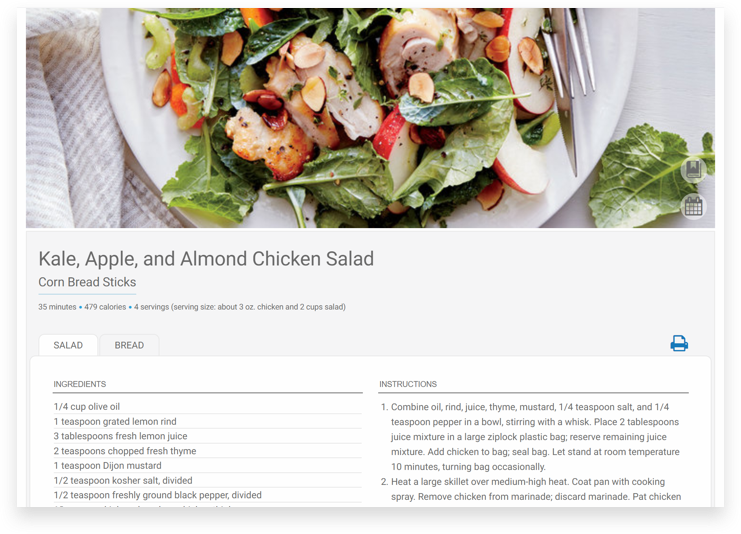 Cooking Light Diet Meal Plan screenshot